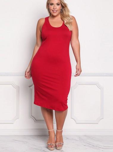 Mid-Calf Round Neck Sleeveless Plus Size Red Dress