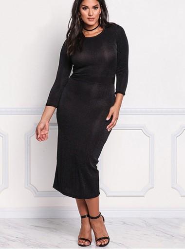 Tea-Length 3/4 Sleeves Round Neck Plus Size Black Dress