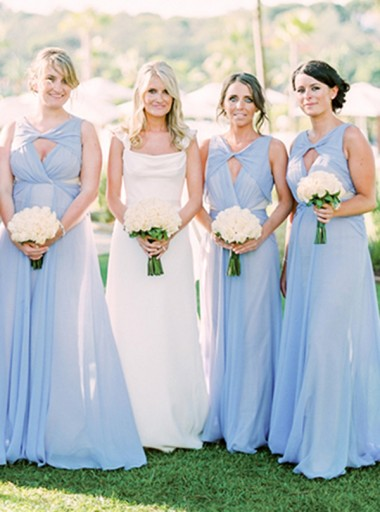 A-Line V-Neck Keyhole Blue Ruched Chiffon Bridesmaid Dress