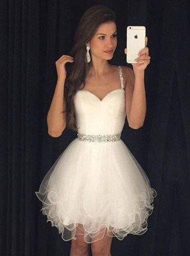 A-Line Straps Short White Tulle Homecoming Dress with Beading