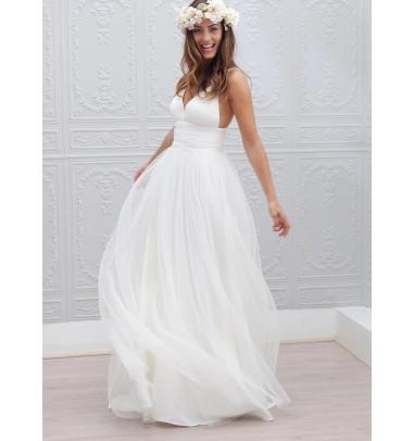 Simple V-neck Floor-Length Open Back White Beach Wedding Dress