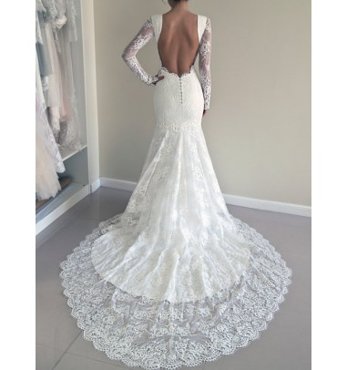 Stunning Jewel Long Illusion Sleeves Court Train Sheath White Wedding Dress with Open Back