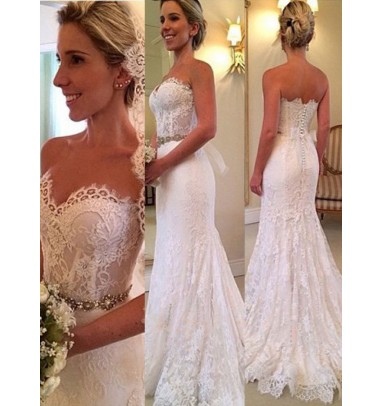 Dramatic Sweetheart Sweep Train Lace Mermaid Wedding Dress Beading Waist