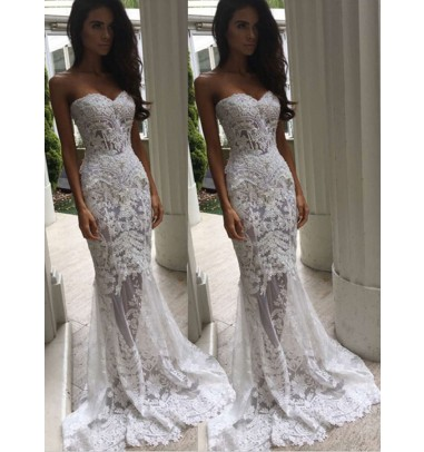 Trendy Sweetheart Sweep Train Mermaid Lace Wedding Dress with Pearls