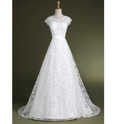 Decent Jewel Cap Sleeves Sweep Train Lace Wedding Dress with Sash Bow