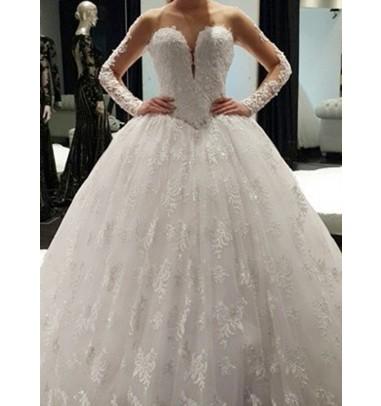 Elegant Bateau Illusion Neck Long Sleeves Ball Gown Lace Wedding Dress