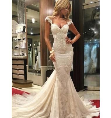 Mermaid Scoop Illusion Back Cap Sleeves Court Train Lace Wedding Dress