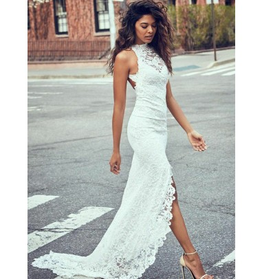 Sheath Round Neck Sweep Train Open Back Lace Wedding Dress with Split