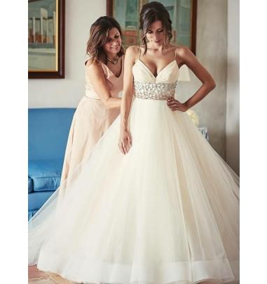 Stunning V-neck Sleeveless Sweep Train Ivory Wedding Dress with Beading Waist