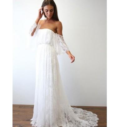 A-Line Off-the-Shoulder Sweep Train Lace Beach Wedding Dress