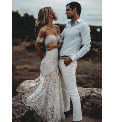 Mermaid Sweetheart Ivory Lace Beach Boho Wedding Dress