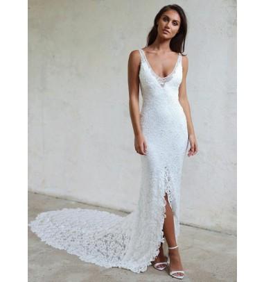 Sheath V-Neck Court Train Backless Lace Wedding Dress with Split