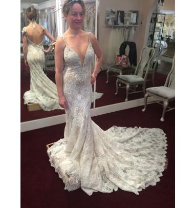 Mermaid Spaghetti Straps Backless Light Champagne Lace Wedding Dress
