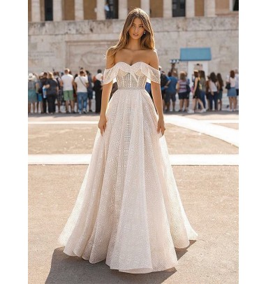 Charming Off Shoulder A-Line Sweep Train Short Sleeves Lace Wedding Dress