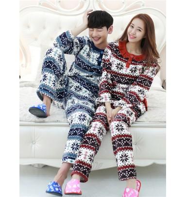 Snow Printed Flannel Long Sleeves Couple Pajamas