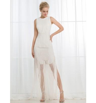 Vintage Sheath Round Neck Short Lace Wedding Dress with Tassels