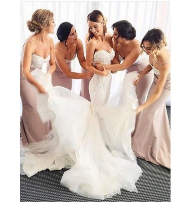 Gorgeous Sweetheart  Long Bridesmaid Dress With Lace Train