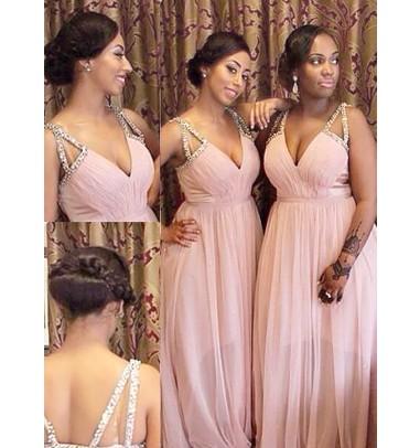 Charming Deep V-neck Spaghetti Straps Beading Floor-Length Pink Bridesmaid Dress