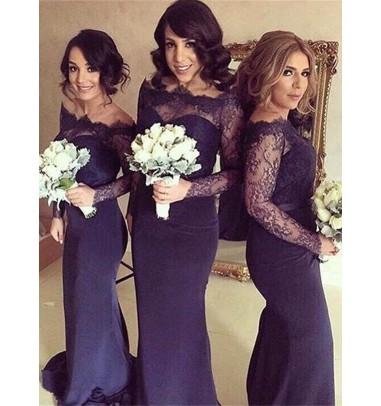 Glamorous Mermaid Sweep Train Long Sleeves Dark Navy Bridesmaid Dress with Lace Sash