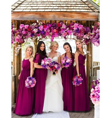 Hot Sale Spaghetti Straps Floor-Length Purple Bridesmaid Dress with Pleats