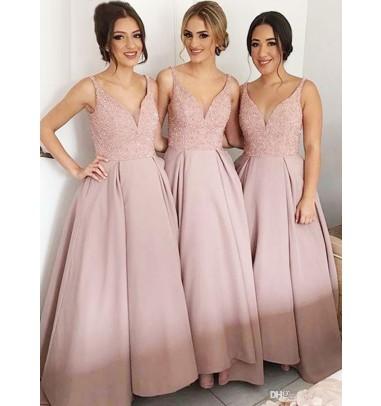 Glamorous V-neck Sleeveless Floor-Length Bridesmaid Dress with Sequins