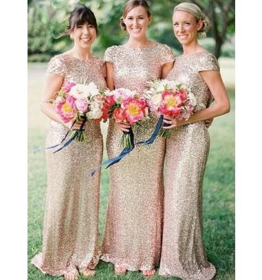 Mermaid Bateau Cap Sleeves Champagne Sequined Bridesmaid Dress