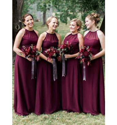 A-Line Halter Floor Length Dark Red Chiffon Bridesmaid Dress