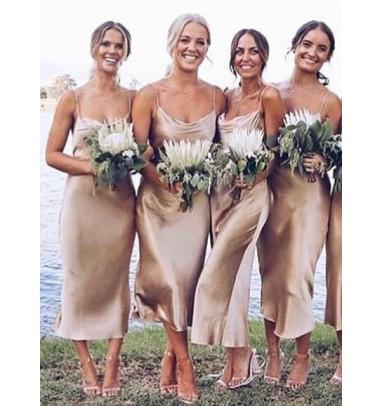 Sheath Spaghetti Straps Champagne Satin Bridesmaid Dress
