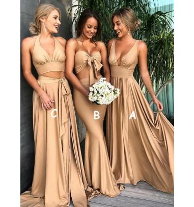 A-Line V-Neck Sweep Train Champagne Satin Bridesmaid Dress