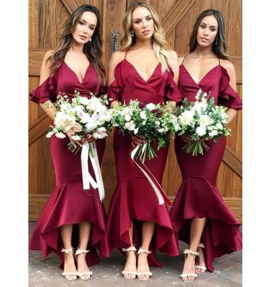 Mermaid Spaghetti Straps Wine Dark Red Bridesmaid Dress with Ruffles