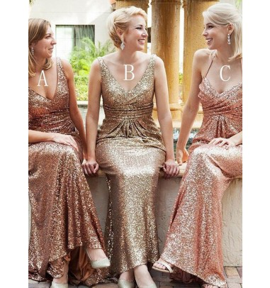 Mermaid Deep V-Neck Sweep Train Sleeveless Gold Sequined Bridesmaid Dress