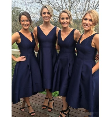 A-Line V-Neck Tea-Length Sleeveless High Low Navy Blue Satin Bridesmaid Dress