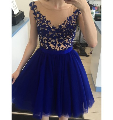 Bateau Cap-Sleeve Above-knee Royal Blue Homecoming Dress with Appliques and Beading