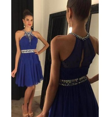 A-line Halter Above-knee Chiffon Backless Royal Blue Prom Homecoming Dress with Rhinestones