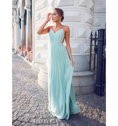 Sexy V-neck Spaghetti Straps Floor-Length Backless Mint Prom/Homecoming Dress