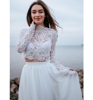 White A-Line Sweep Train Lace Wedding Dress with Long Sleeves
