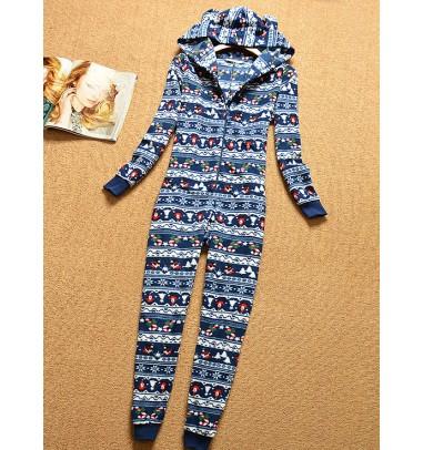 Fashion Hooded Long Sleeves Red Print Of Deer Christmas Pajamas Sleepwear