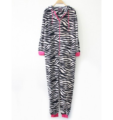 Hot Sale Hooded One-Piece Zebra-Stripe Zipper Sleepwear Pajamas