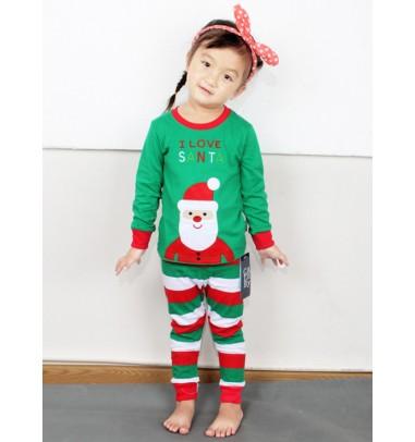 Fashion Green Stripe Two-pieces Girls Pajamas With Santa Claus Print