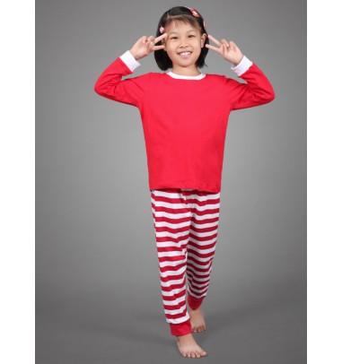Cute Two- pieces Red Stripe Children Christmas Pajamas