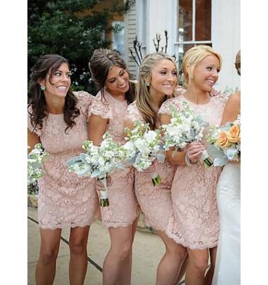 Sheath Crew Short Cap Sleeves Pink Lace Bridesmaid Dress