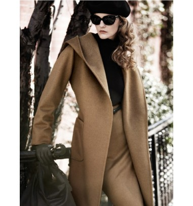 Loose Woolen Long Women's Overcoat With Ribbon
