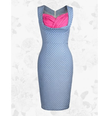 Blue Vintage Sweetheart 50s White Polka Dots Women Bodycon Swing Party Dress