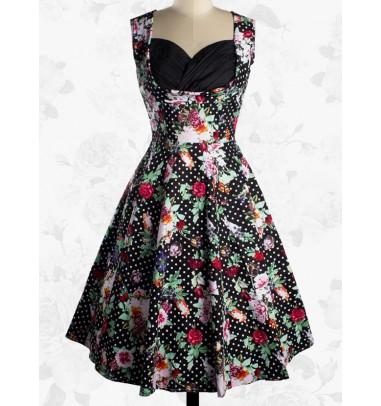 Vintage Sweetheart 50s Sleeveless Flower Pattern Ball Gown Dress For Women
