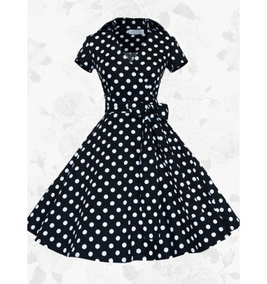 Women's Retro Short Sleeves Polka Dots 50s 60s Black Rockabilly Pinup Swing Dress