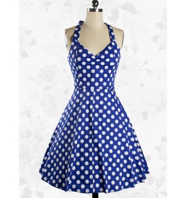 Women Rockabilly 50s Vintage Polka Dots Blue Swing Party Cocktail Dress