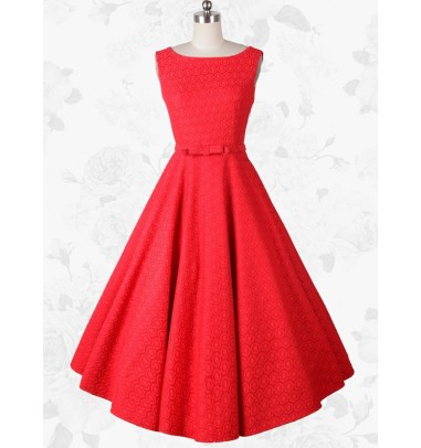 Women's Vintage Style 50s 60s Scoop Red Swing Party Dress With Belt