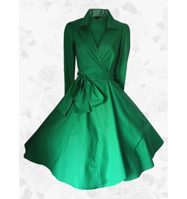 Vintage Green Small Lapel Falbala Plain Long Sleeves 50s 60s Dress Plus Size