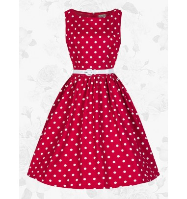 Red Retro Scoop 50s 60s White Polka Dots Party Swing Cocktail Dress With Belt