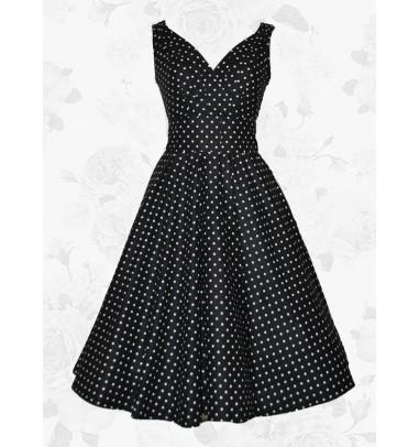 Black Vintage Style V-neck White Polka Dots 50s 60s Party Cocktail Dress